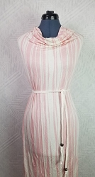 B613-Pink & White Rayon Poly Stretch 58/60